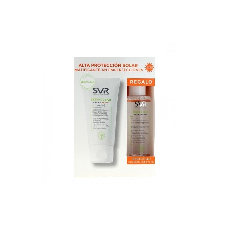 SET SEBIACLEAR Crema  SPF50 50ml + Agua Micelar 75ml